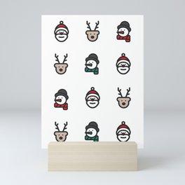 Cute Christmas Pattern Mini Art Print