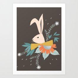 floral rabbit on grey illustration Art Print