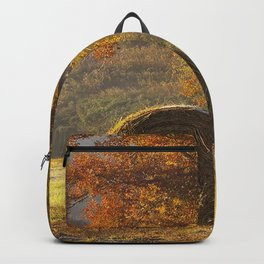 hay bales agriculture autumn field Backpack