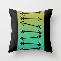 arrows Throw Pillows featuring Arrows by Leah Flores