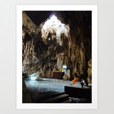 Monk in Cave Temple Art Print