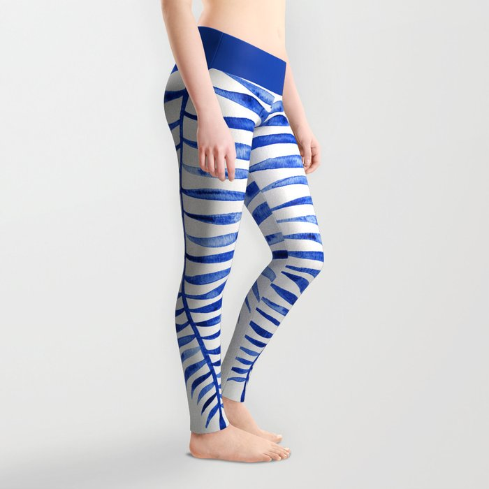 Navy Palm Leaf Leggings