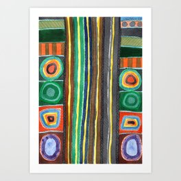 Symmetrical Bordered Stripes Art Print