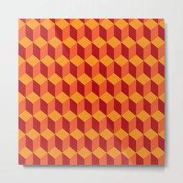 RETRO YELLOW RED 3D BOX PATTERN Metal Print