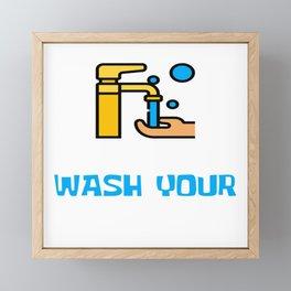 Social Distancing Raise Awareness Sanitize Design Please Wash Your Hands Face Mask Fight Corona Framed Mini Art Print