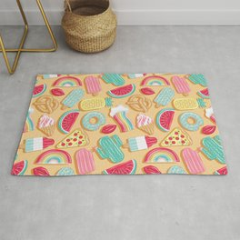 Epic pool floats top view // sand background Rug