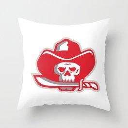 Cowboy Pirate Skull Biting Knife Retro Throw Pillow