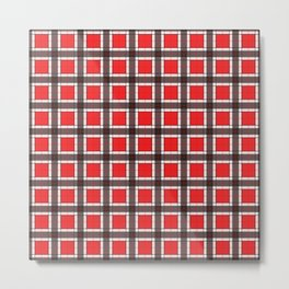 Red Plaid Pattern Metal Print