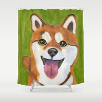 shiba Shower Curtains featuring Happy Shiba Inu by AnimalFrenzArt  -- Whimsical animal art