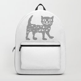 Gray cat pattern Backpack