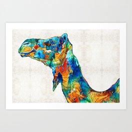 Colorful Camel Art By Sharon Cummings Art Print