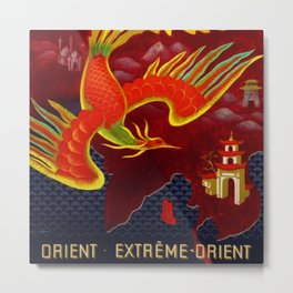 Vintage 1947 Air France for the Orient Extreme-Orient Advertisement Poster by Lucien Bouch Metal Print