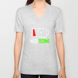 """Stay alert and recharge with this cutie and adorable sleepy tee. Grab this """"Need Techno"""" tee now!  Unisex V-Neck"""