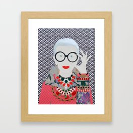 Iris Apfel printed reproduction of an original papercraft illustration Framed Art Print
