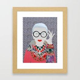Iris Apfel printed reproduction of an original papercraft illustration Framed Art Print