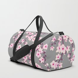 Cherry Blossoms Pink Gray Duffle Bag