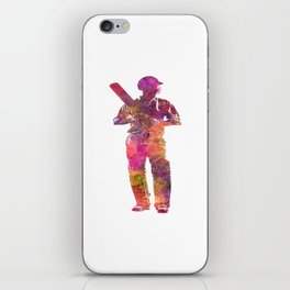 Cricket player batsman silhouette 10 iPhone Skin