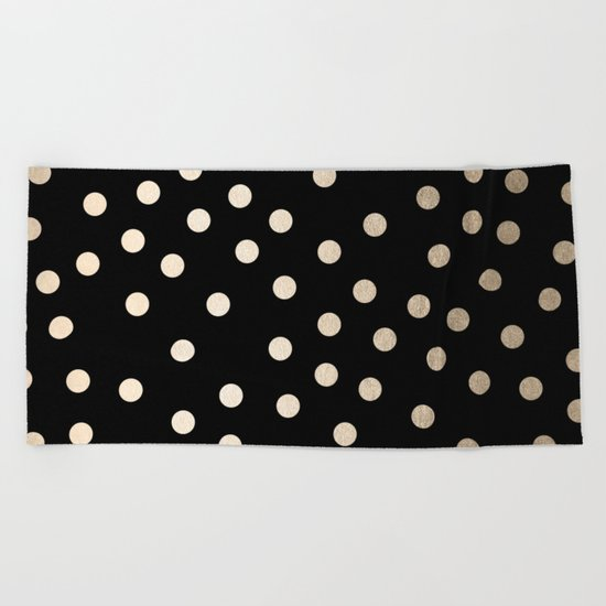 Simply Dots White Gold Sands on Midnight Black Beach Towel