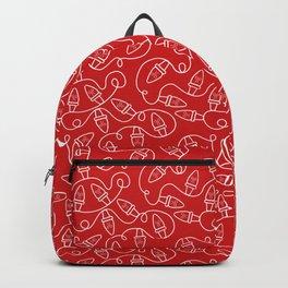Seamless Christmas Lights (Red) Backpack