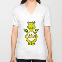 dino V-neck T-shirts featuring dino ♥ by Walkie Talkie Girl
