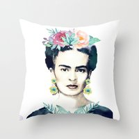 frida kahlo Throw Pillows featuring Frida Kahlo  by South Pacific Prints