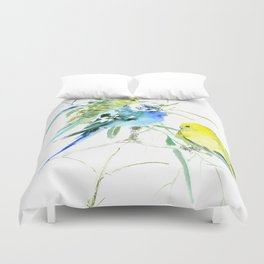 Parakeets green yellow blue bird decor Duvet Cover