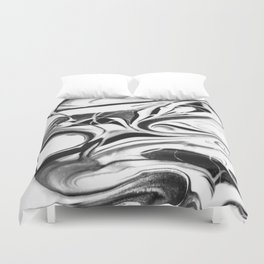 Black and white swirl - Abstract, black and white swirly, paint mix texture Duvet Cover