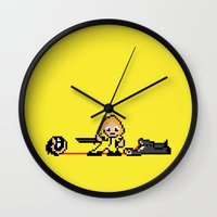 kill bill Wall Clocks featuring Kill Pixel Bill  by Eric A. Palmer