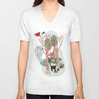 insects V-neck T-shirts featuring A Stick-Insects Dream by Mirisch