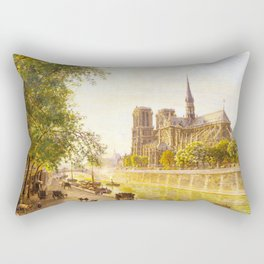 L'lle de la Cite and the Cathedral of Notre Dame, Paris from Quai Montebello by Firmin-Girard Rectangular Pillow