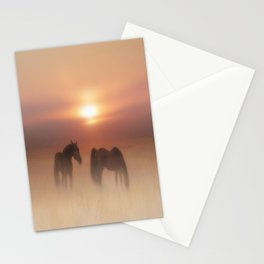 Horses in a misty dawn Stationery Cards
