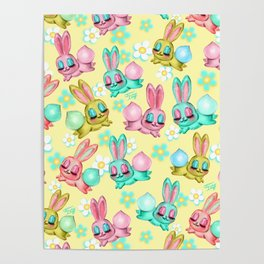 Bunnies and Daisies on Yellow Poster