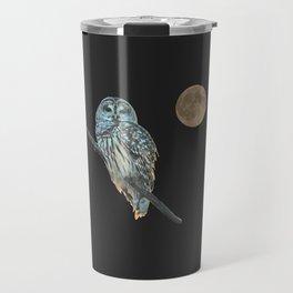 Owl, See the Moon (sq Barred Owl) Travel Mug