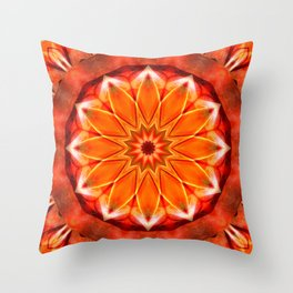 Mandala bitter orange Throw Pillow