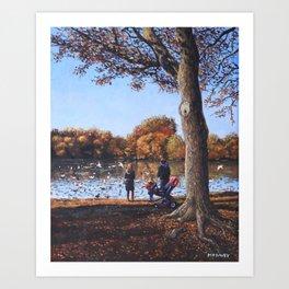 Feeding the Ducks at Southampton Common Art Print