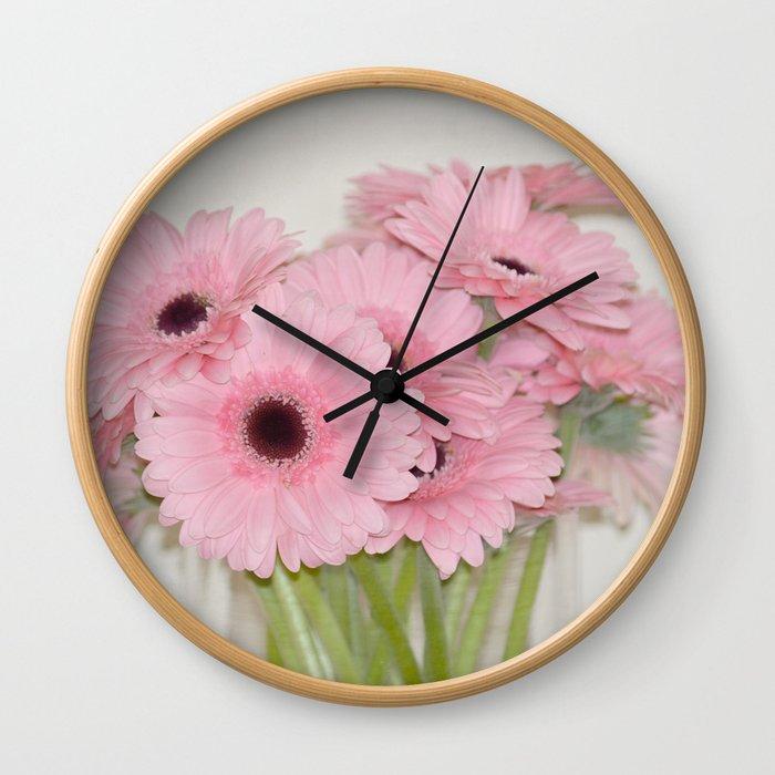 Pink Gerbera Flowers Wall Clock