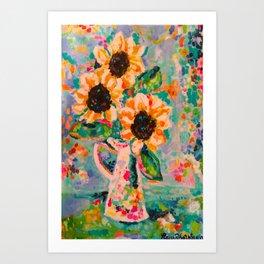 Sunflowers after the rain Art Print