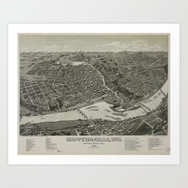 Vintage Pictorial Map of Chippewa Falls WI (1886) Art Print
