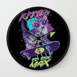 Kitten To The Max Wall Clock