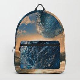 Beach - Waves - Ocean - Sun - Clouds - Blues - Sundown Backpack