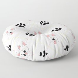 White German Shepherd Paw Print Pattern Floor Pillow