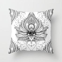 Lotus flower + All seeing eye. Throw Pillow