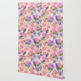 Robin and flowers, watercolor pattern Wallpaper