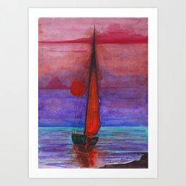 Boat on the Sunset Art Print