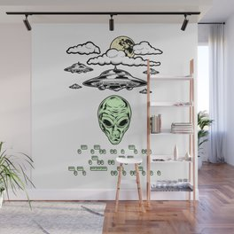 Funny Alien UFO Flying Saucers Prank Morse Code Aliens Like Coffee Wall Mural