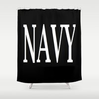 navy Shower Curtains featuring NAVY by shannon's art space
