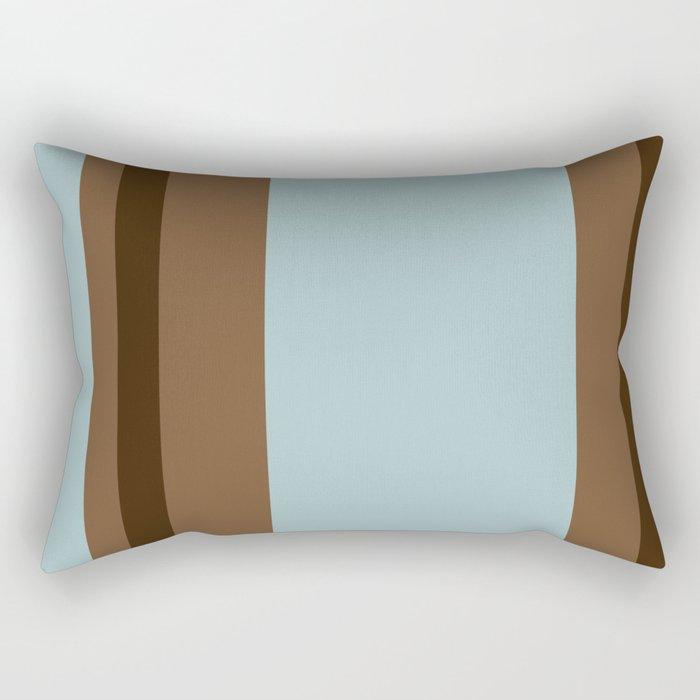 Light Blue and Brown Stripes Rectangular Pillow