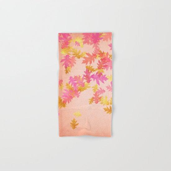 Autumn-world 1 - gold glitter leaves on pink backround Hand & Bath Towel