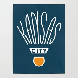 Kansas City Shuttlecock Type - White Poster