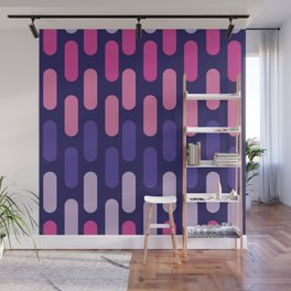 Colourful lines on navy background Wall Mural
